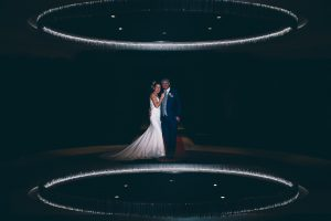 Bride and Groom in Reception at Formby Hall