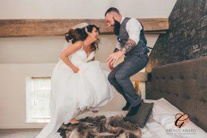 Bride and Groom having fun, Lancashire Wedding Photographer