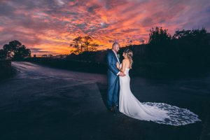 Bride and Groom with sunset, Lancashire Wedding Photography