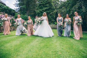 Bride and bridesmaids at Mitton Hall