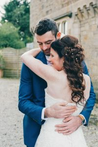 Intimate bride and groom at Mitton Hall