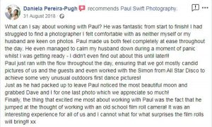 Kind words for Lake District Wedding Photographer