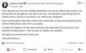 Kind words for Northwest Wedding Photographer
