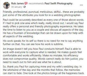 Kind Words for Liverpool Wedding Photographer