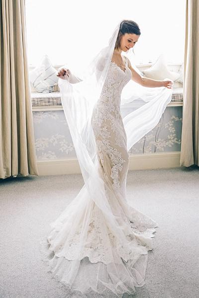 Bride enjoying her dress