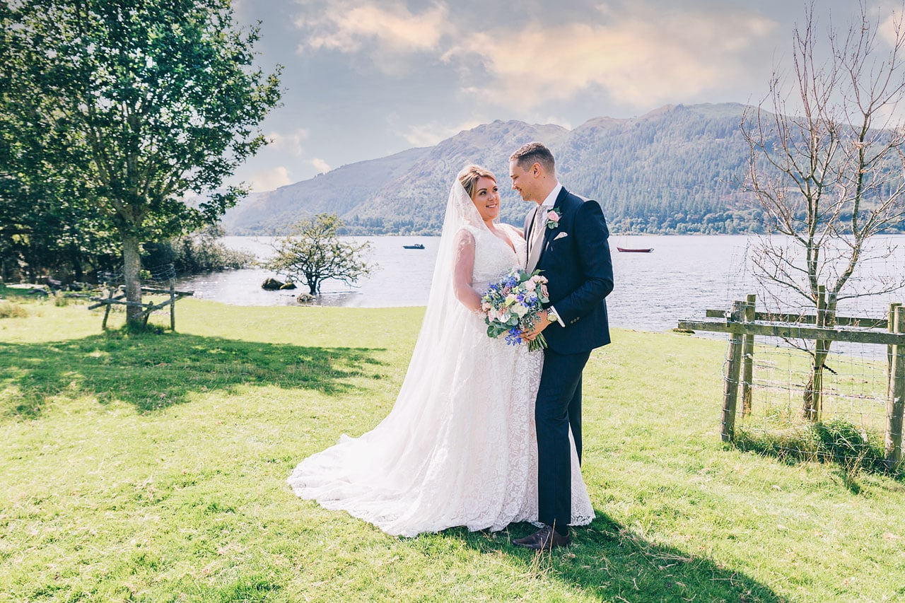 Bride and Groom on the banks of Bassenthwaite