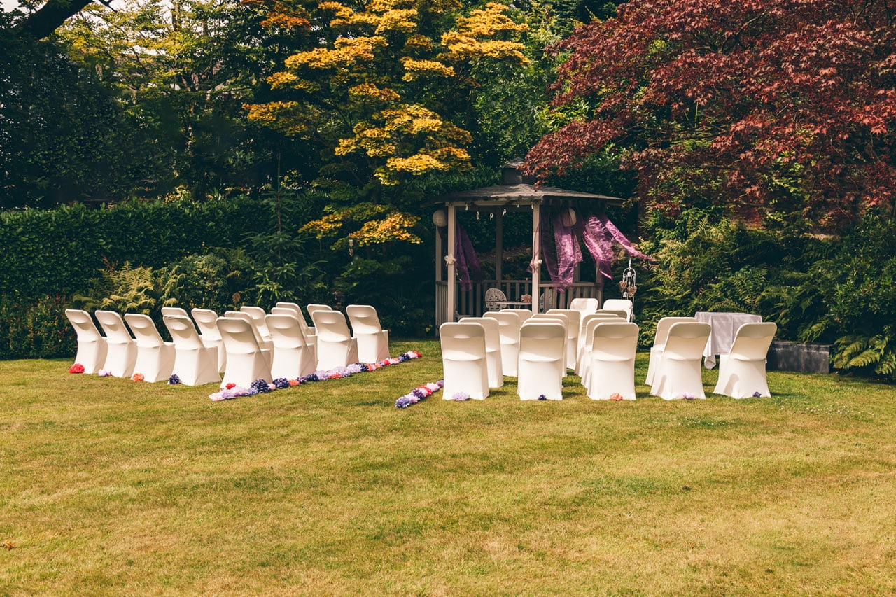 Outdoor ceremony ready for the bride and groom