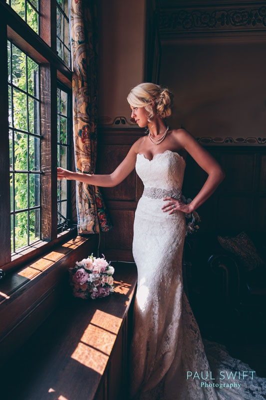 Bride in the music room at Broadoaks Country House