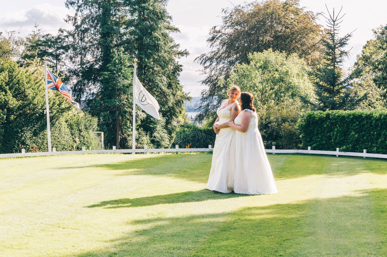 Two Brides on the helipad - Broadoaks Country House