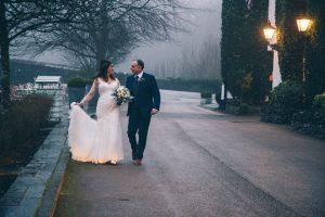 Bride and Groom having a gentle stroll.