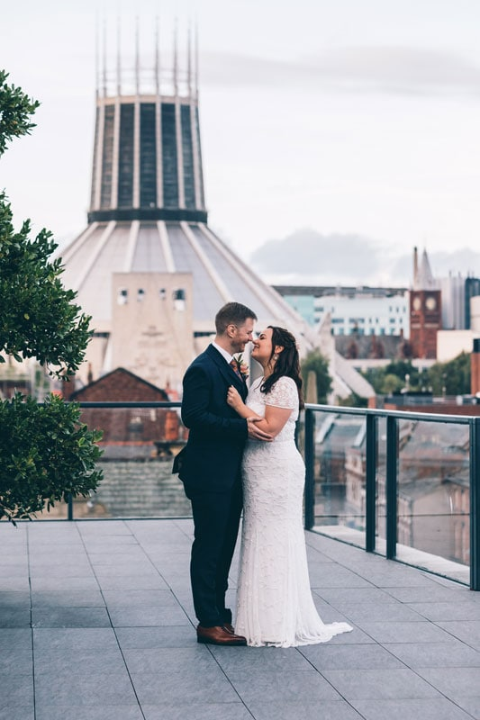 Bride and Groom on roof at Hope Street Hotel